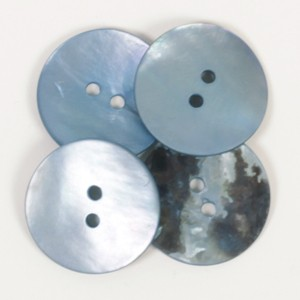 Perlmutt Knopf rund (blau) 20mm