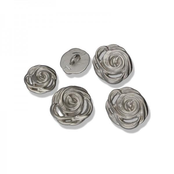 SECO Metall-Knöpfe Rose silber matt