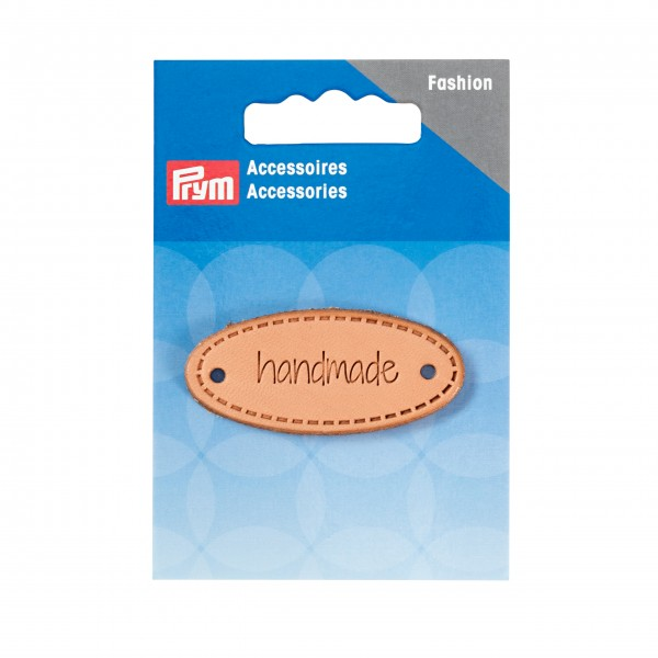 "Applikation ""handmade"" Label oval natur"