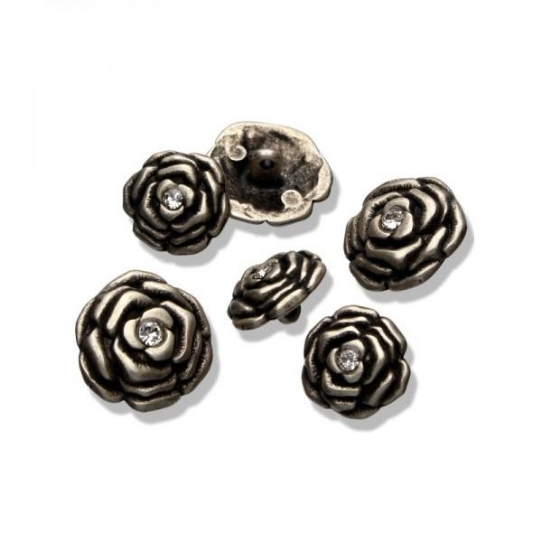 Metall-Knöpfe Rose altsilber kristall