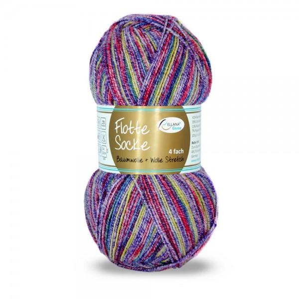 Flotte Socke 4fach Baumwolle + Wolle Stretch
