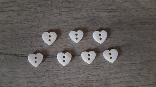 Perlmutt-Knopf Herz weiss 11mm