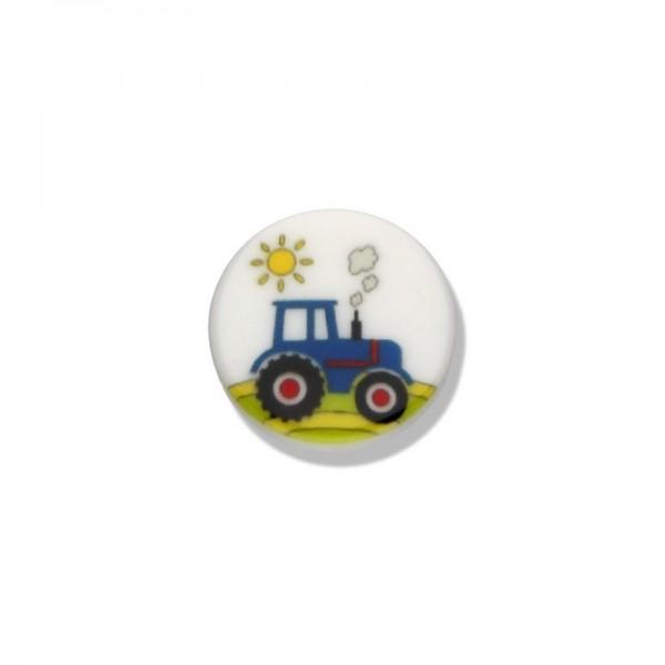 Kinderknöpfe Traktor weiss