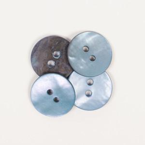 Perlmutt Knopf rund (blau) 15mm
