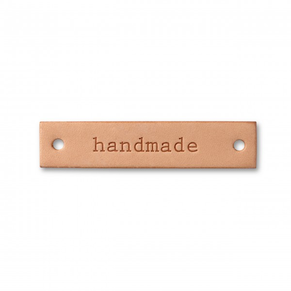 "Applikation ""handmade"" Label natur"