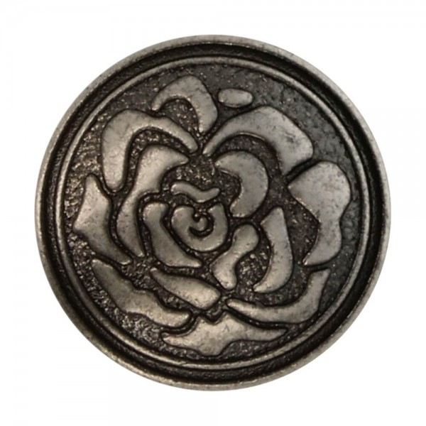Metallknöpfe Rose altsilber
