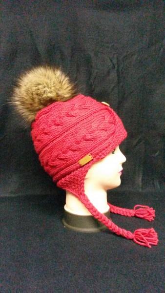 Mütze Zopf Rot Vegan Bommel