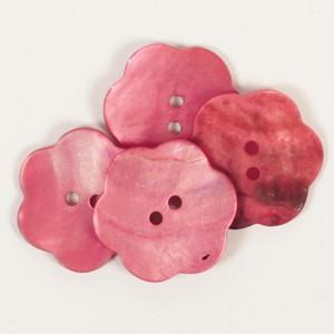 Perlmutt Knopf Blume rot 25mm