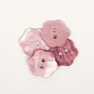 Perlmutt Knopf Blume rosa 15mm