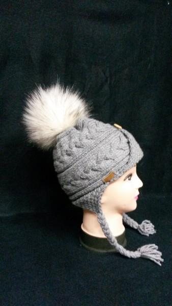 Mütze Zopf Grau Vegan Bommel