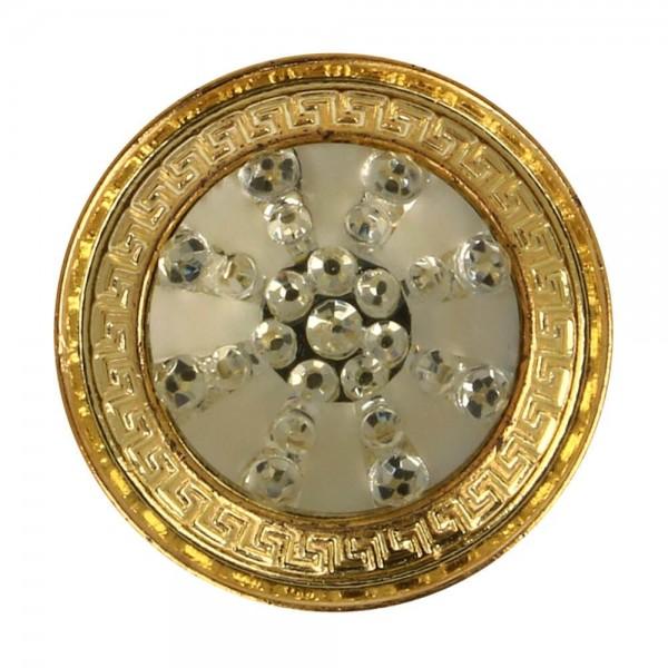 Knopf Eiskristall mit Metallrand 25 mm